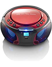 Radio CD Portátil Lenco Scd-550Rd Color Rojo, Bluetooth, USB, Radio FM