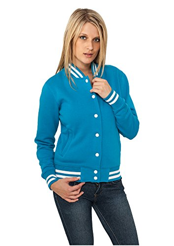 Urban Classics Damen Collegejacke Ladies College Sweatjacket, Farbe turquoise, Größe L