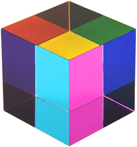 CMY Color Cube 1 6 inch Acrylic Glass Cube Prism Multi Color Physics Toy and Desktop Decor 4cm product image