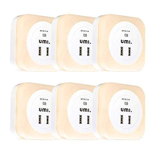 Umi. by Amazon Eckiges LED-Nachtlicht für die Steckdose mit Dämmerungssensor und zwei USB-Ladeanschlüssen 9 lm – 2,1A Ausgang – 6er-Pack