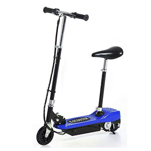 HOMCOM Trottinette électrique 120 W Pliable pour Enfant de 7 à 12 Ans Hauteur Guidon et Selle réglable 10 Km/h Max. 2 Roues PU Bleu