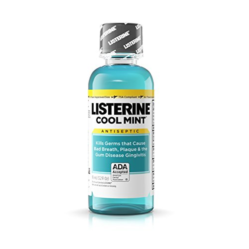Price comparison product image Listerine Cool Mint Antiseptic Mouthwash for Bad Breath,  Travel Size 3.2 Ounces - Case of 24