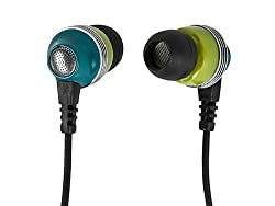 in budget affordable Monoprice in-ear headphones with enhanced bass isolation – green, built-in mic,…