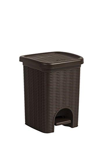 Tretmülleimer im Rattan Design mit herausnehmbaren Einsatz und 6 Liter Volumen im angenehmen Braun - für das Bad, die Küche oder das Büro