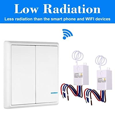 Wireless Home Smart Lights Switch Panel Remote 2-way Wall panel + 220V receiver Control Lamps Fans Devices Appliances on/off, Self-Powered Transmitter Kit No Battery No Wiring Waterproof