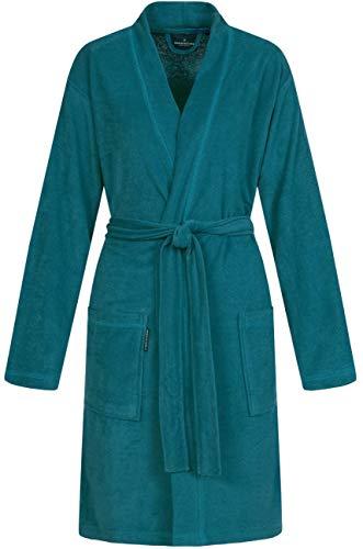 Morgenstern Damenbademantel 100 cm lang ohne Kapuze Smaragd Grün Damenbademantel M Baumwolle Frauen weich frottee kurz leicht