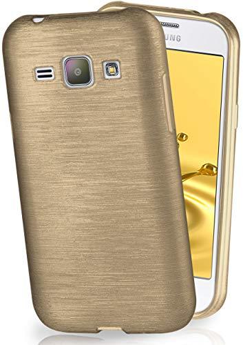 MoEx® Funda de Silicona con Aspecto Aluminio Cepillado Compatible con Samsung Galaxy J1 (2015) en doré