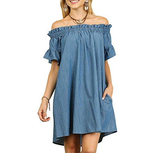 SIMSHION Womens Ruffled Sexy Off Shoulder Short Sleeve Denim Casual Loose Mini Dress, Light Blue, X-Large