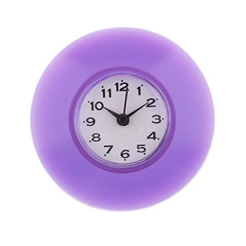 perfk Horloge D'aspiration de Douche de Cuisine Résistante à L'eau avec Décoration Murale à Ventouse - Violet