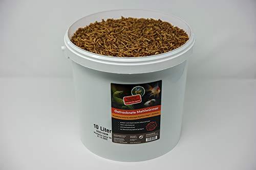 SUPERWURM 10 Liter getrocknete Mehlwürmer - Insekten getrocknet - Futter Snack für Hühner, Küken, Hamster, Fische, Wildvögel, Igel, Wachtel - Ideales Igelfutter, Vogelfutter