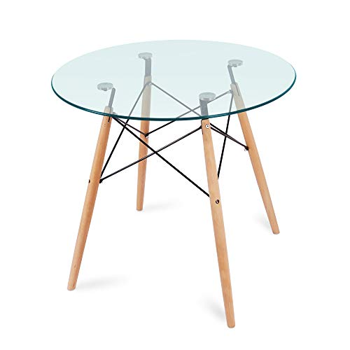 Nidouillet Round Glass Dining Table, Coffee Desk with 4 Beech Wood Legs for Kitchen Living Room