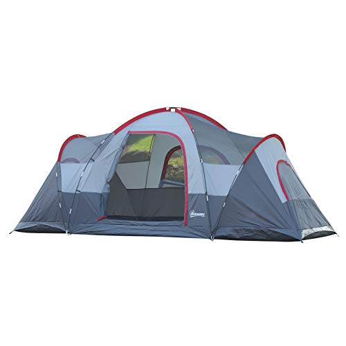 Outsunny 5-6 Man Dome Camping Tent Hiking Shelter UV Protection Water Resistant Tunnel Sun Shade -...