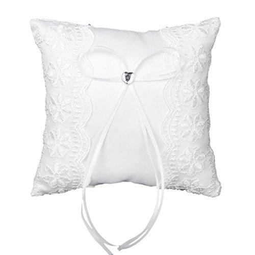 Anillo Almohada Cojin Encaje Sat¨¦n Cinta Nupcial Boda Blanco Ring Pillow 15x15cm