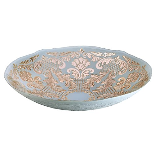 Amici Home, , Siena Collection Oval Serving Bowl, Powder Blue and Rose Gold Damask Pattern, Handmade Decorative Turkish Serveware, 16 Inch Diameter