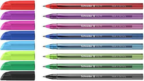 Schneider Vizz Kugelschreiber (Für leichtes und schnelles Schreiben, Schaft in Schreibfarbe, Strichbreite M) 8 Stück, sortiert, 8er