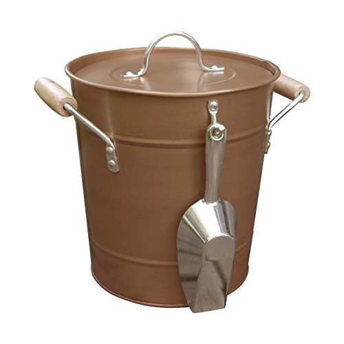 Antique Rustic Style Copper Ice Bucket with Scoop, Handles, and Lid, Brown, Medium, 10'' x 10'' x 9''