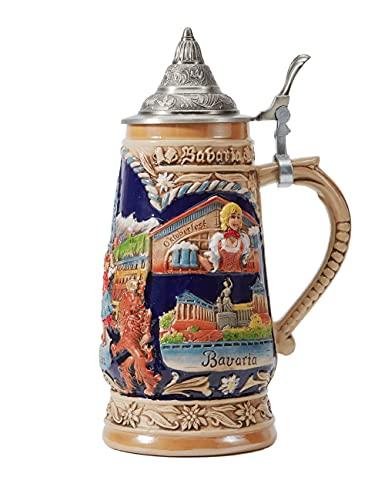 Amoy-Art Boccale da Birra con Coperchio Tedesco Germania Oktoberfest München Stein Mug per Compleanno Regalo Uomini Padre Marito 1.0Litre
