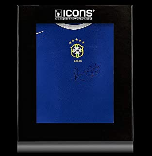 Ronaldinho Front Autographed Signed Brazil 2004 Away Shirt In Deluxe Packaging - Certified Authentic Soccer Signature