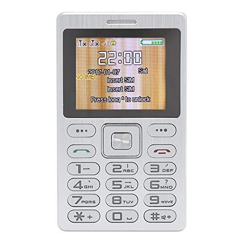 214 Teléfono móvil, teléfono Celular de Espera Dual Dual SIM ultradelgado de Metal de 1,77 Pulgadas con Pantalla a Color HD, Puerto para Auriculares de 3,5 mm, marcación Bluetooth Inteligente(Plata)