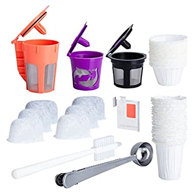 Reusable K Cups and Carafe for Keurig 2.0 Bundle with Water Filters, Disposable Filters and Coffee Accessories (8 items)