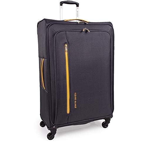 Soft Shell 31 Inch Suitcase with x4 Spinner Wheels - Cion Soft Case by Pierre Cardin | Quality Tested Soft Sided Luggage | Weighing 2.9 Kg 79cm Large 104 litres Cap (Large, Grey & Orange)