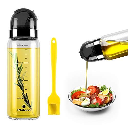 PHILORN Ölflasche 400ml, Groß Essig/Öl Spender mit Skala, Auslauf Leckagefrei und Anti-Schmutz Verschluss, Glas Olivenöl Behälter, Öl- und Essigspender Flasche, Essigflasche, Olivenöl Dispenser