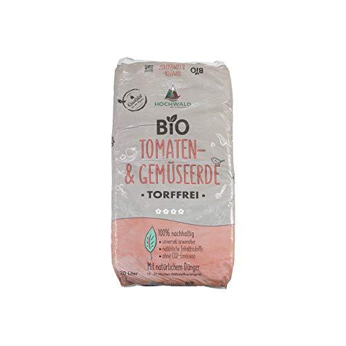 Hochwald Bio Tomatenerde torffrei mit Dünger | Spezialerde für Tomaten und Starkzehrer | Bioerde mit Bodenhilfsstoffen für zahlreiche Gemüsesorten | mit natürlichem Langzeitdünger | 20 Liter