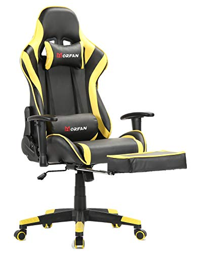 Morfan Gaming Chair New Sixe with Footrest ,Massage and Rocking Function Ergonomic Design Computer Office Chair Relaxing Lunch Break(Yellow) chair footrest gaming
