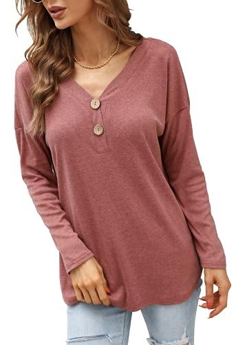 Pullover Damen Sexy V-Ausschnitt Knopfleiste Shirt Hemd Bluse Henley Pullover Top(Burgandy, XX-Large)
