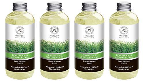 Navulling Citroengras 4x500ml met Puur en Natuurlijke Essentiële Citroengras Olie 2L - Intensief & Langdurig Aroma Natuurlijk voon Aromatherapie - Diffuser - Luchtverfrisser - Huisparfum - Geurolie - zonder Alcohol - Refill Lemongrass