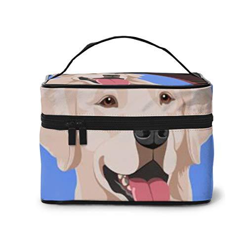 Happy White Labrador Retriever, Porträt eines Hundes, Make-up-Tasche mit verstellbaren Trennwänden, Reise-Kosmetiktasche