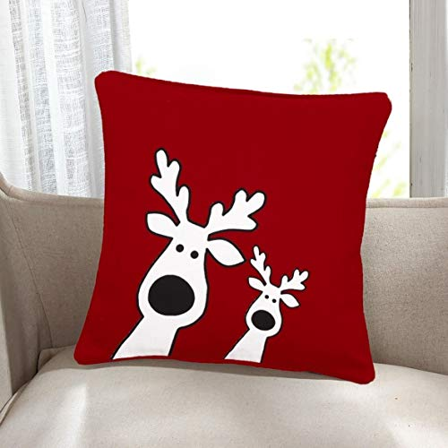 ARLINENS 100% Cotton's XMAS Cushion Cover Name Reindeer Size 18'x18'