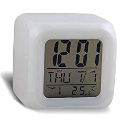 AKIMPE Alarm Clock Digital Bell Beep Dual Large LED Display with FM Radio Color Night Light Backlight Dimmer Battery Snooze Travel for Bedrooms Sunrise Simulation Desk White