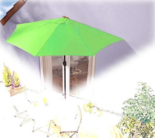 IMC parasol halfrond lichtgroen balkon met zwengel wandscherm marktscherm balkonscherm zonnescherm half scherm