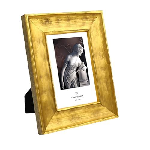 KAIHUI Marco De Fotos Negro Marco De Fotos Dorado-Vidrio Acrílico HD-con Soporte-Foto De Niños-para Decoración De Sala De Estar Y Dormitorio-Colocación De Escritorio 4x6 Inch(10.2x15.2cm)