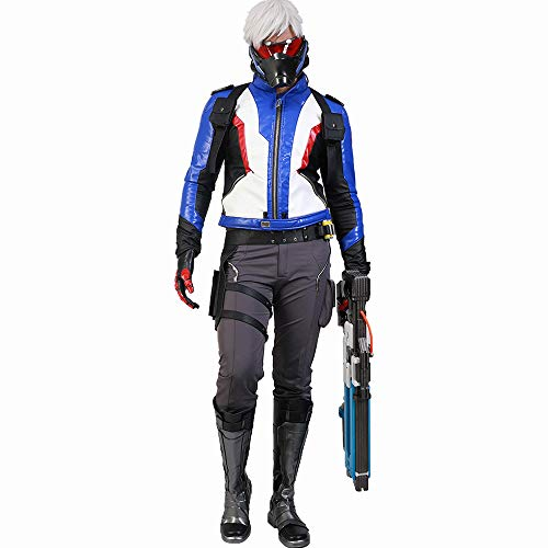 Overwatch Soldier 76 Cosplay Costume Suit Hot Game Collection Set of PU Leather Jacket +Pants