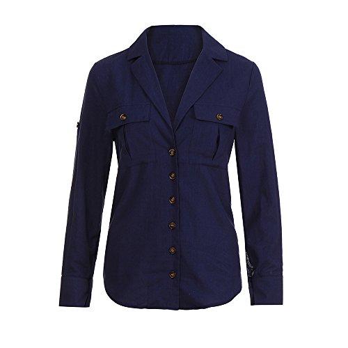 ESAILQ Damen Loose Button Long Shirt Kleid Baumwolle Casual Tops Bluse(M,Marine)