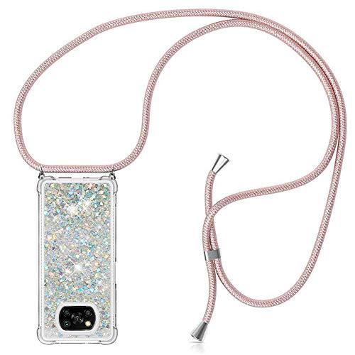 ZHXMALL Funda con Cuerda para Xiaomi Poco X3 NFC,Brillante Glitter liquida Transparente Suave TPU Silicona Case [Anti-rasguños Anti-Choque],Ajustable Collar Carcasa Cover,Plata
