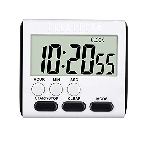 24 Hours Magnetic Kitchen Timer with Digital Alarm Clock, Big Screen Loud Alarm & Strong Magnet, Count-Up & Count Down for Kitchen Baking Sports Games Office Study (Black)