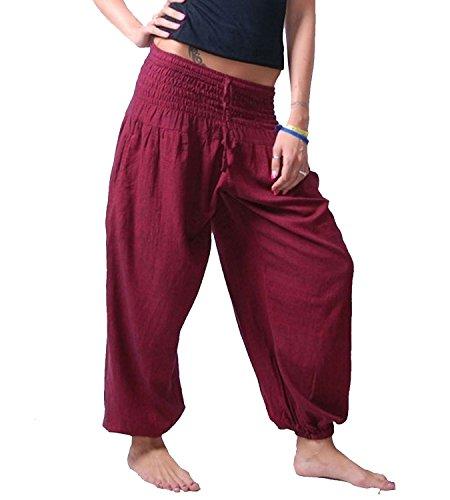 KUNST UND MAGIE Damen Pluderhose Haremshose Sommerhose Hippie Goa Wellness Yoga, Farbe:Bordeaux, Größe Damen:38-42(L/XL)