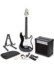 RockJam elektrische gitaar, superkit met gitaarversterker, gitaarsnaren, gitaartuner, gitaarriem, gitaarkoffer en kabel, zwart