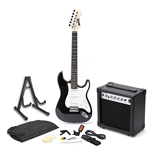 RockJam RJEG01-SK-BK  Full Size Electric Guitar Superkit with Guitar...
