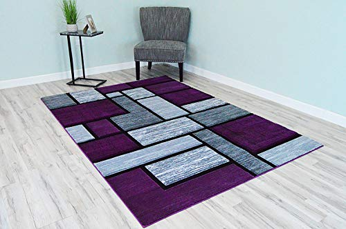 PlanetRugs Inc Premium 3D Effect Hand Carved Modern Abstract 2x4 Colorful Luxury Rug for Bedroom, Living Room, Dining Room Contemporary Carpet 3995 Purple