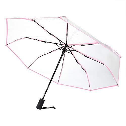 Cafopgrill Transparenter Regenschirm, tragbarer dreifacher Reiseregenschirm Sun Rain Folding Ladies Fashion Umbrella Zuverlässiger Schutz(Rosa)