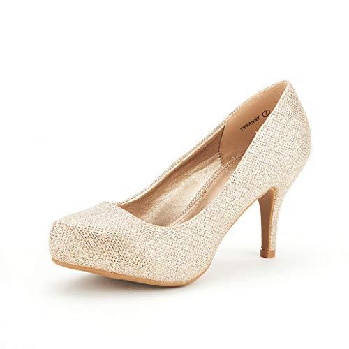 DREAM PAIRS Tiffany Women's New Classic Elegant Versatile Low Stiletto Heel Dress Platform Pumps Shoes Gold Size 9.5
