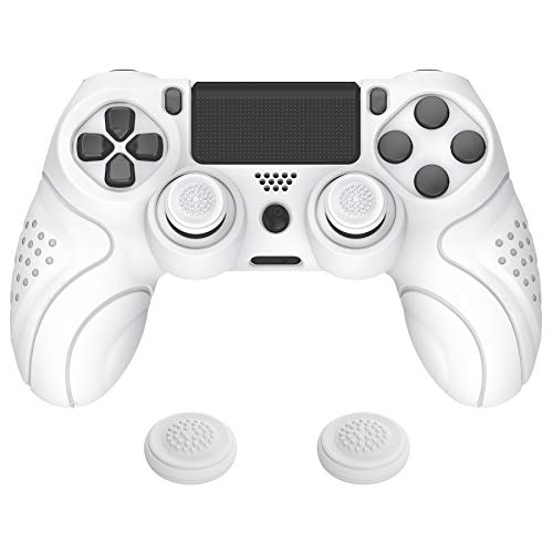 PlayVital Guardian Edition White Ergonomic Soft Anti-Slip Controller Silicone Case Cover for Playstation 4, Rubber Protector Skins with White Joystick Caps for Dualshock 4 PS4 Slim PS4 Pro Controller