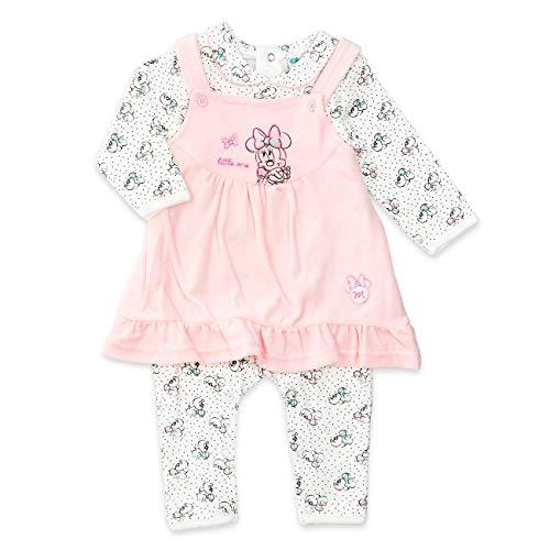 Disney Baby Set Mädchen weiß rosa | Motiv: Minnie Mouse | Baby Strampler mit Kleid für Neugeborene & Kleinkinder | Größe: 12-18 Monate (86)