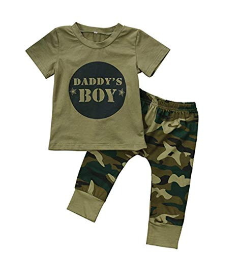 Sommerkleidung Kleinkind Baby Junge Mädchen Brief Drucken Tarnung Kurze Ärmel T-Shirt Oberteile Camouflage Hose Lässige Outfits Bekleidungssets Kleidung Set (2pcs, 0-6 Months)