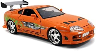 Jada Toys Fast & Furious Movie 1 Brian's Toyota Supra diecast collectible toy vehicle car, orange with decals, 1:24 scale (Renewed)