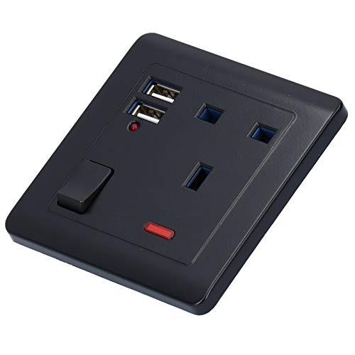 SZHWLKJ Toma De Salida De Energía De Pared Multifuncional con 2 Puertos USB 13a para La Oficina En Casa Negra